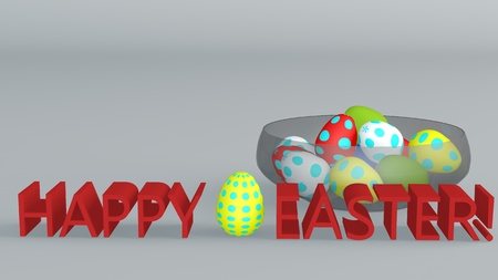 Glass cup with colored Easter eggs. The inscription in red letters. 3D rendering.