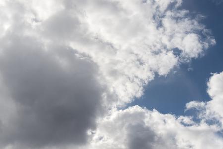 Volumetric clouds in the blue sky. skylight