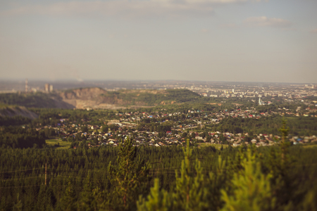 Panoramic shot on a small town, miniature effect. tilt shift. 写真素材