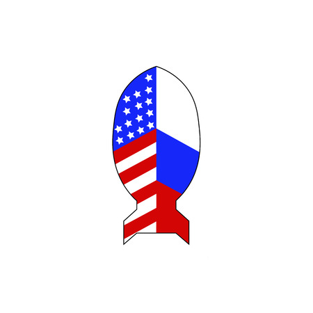 Nuclear missile separates the USA and Russian flag for the concept Nuclear confrontation. Vector illustration.