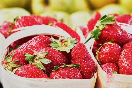 fres: Strawberry in a basket on the market
