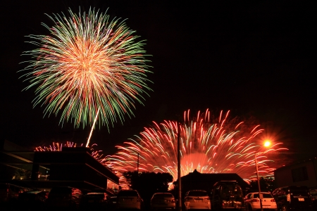 hanabi: Japanese traditional fireworks in the night sky