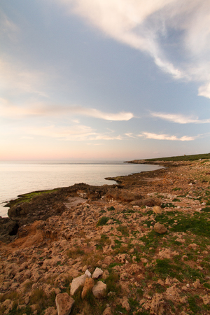 A sea landscape before sunset, on a mediterranean coast
