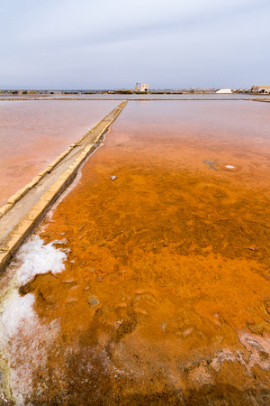 Historical salt flats in Trapani. The salt culture, extraction and production in this city represents one of the major economic revenue and is one of the oldest traditions Reklamní fotografie