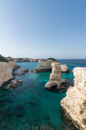A calm blue sea typical glimpse, picture taken from the coast of Torre Sant'Andrea, Puglia region, south Italy 스톡 콘텐츠