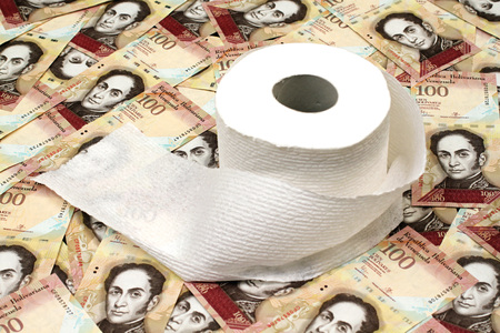 Venezuelan currency close up with toilet paper Stock Photo