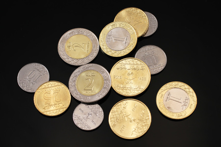 small world: A close up image of assorted Saudi Arabian coins on a black background