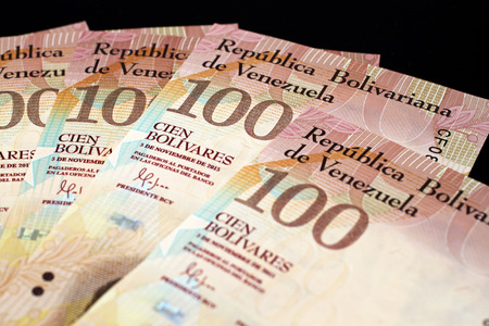 A close up image of venezuelan currency