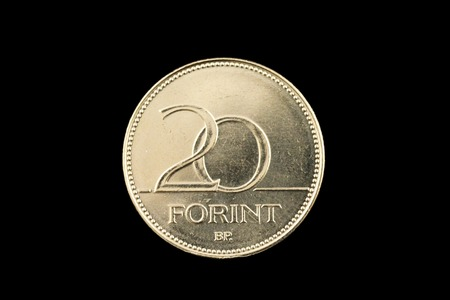 A close up photo of a Hungarian 20 Forint coin isolated on a black background 写真素材