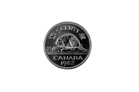 A close up image of a Canadian five cent piece on a white background Imagens