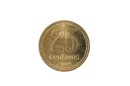 A close up image of an Argentinian twenty five centavos coin isolated on a white background Banco de Imagens - 116266235
