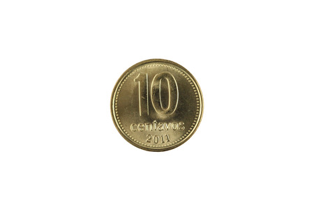 A close up image of an Argentinian ten centavos coin isolated on a white background Banco de Imagens - 116266238