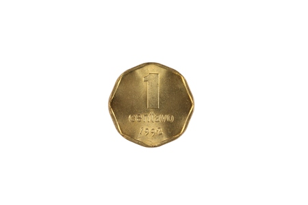 A close up image of an Argentinian one centavos coin isolated on a white background Banco de Imagens - 116266244