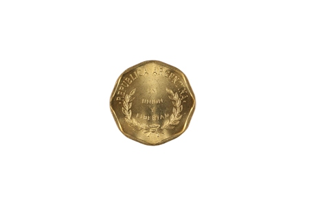 A close up image of an Argentinian one centavos coin isolated on a white background Banco de Imagens - 116266266