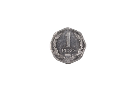 A macro image of a silver one Chilean peso coin isolated on a white background Banco de Imagens - 117555799