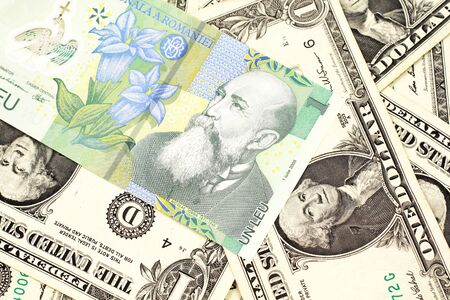 A close up image of a green Romanian one leu bank note on a background of American one dollar bills Stockfoto