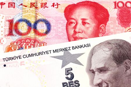 A close up image of a purple five Turkish lira bank note with a red one hundred Chinese renminbi bill in macro Stock Photo