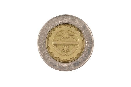 A close up image of a Filipino ten piso coin isolated, close up in macro, on a white background Stockfoto