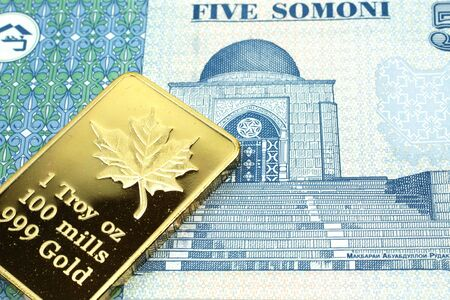 A macro image of a five somoni note from Tajikistan with a gold bar.  Shot close up. Stock Photo