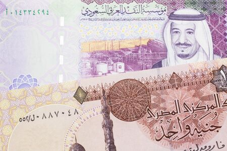 A one Egyptian pound bill with A colorful five Riyal note from Saudi Arabia close up in macro