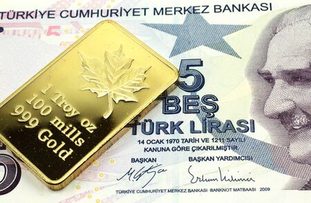 A macro image of a purple five lira note from Turkey with a gold bar.  Shot close up.