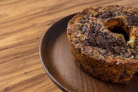 Traditional Brazilian cake called Bolo Formigueiro. Brazilian chocolate cake. Homemade cake. 写真素材