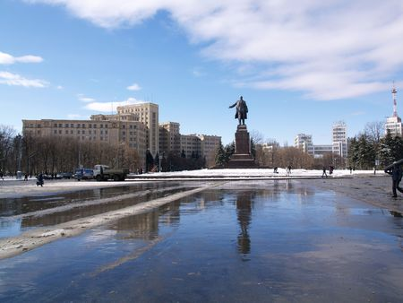 kharkov: Independence square in Kharkov with monument of Lenin