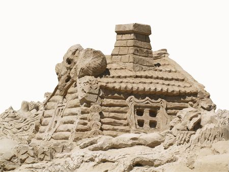 Celebration - Day child protection. Sculptures of sand for children in Kharkiv. (in explanation of Russian fairy tales) Stock Photo