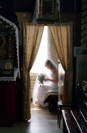 Bride in anticipation of wedding   Stock Photo