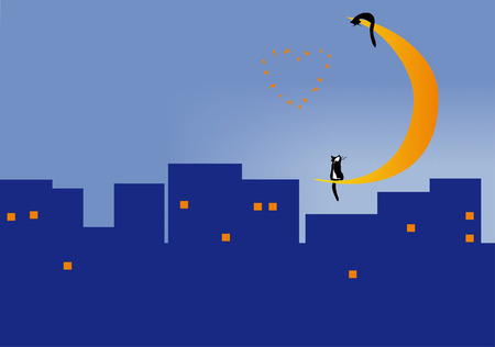 Two cats sitting on the moon over the roofs of the city of night Vector
