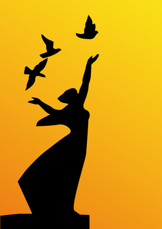 silhouette girl with doves isolated on yellow background Illustration
