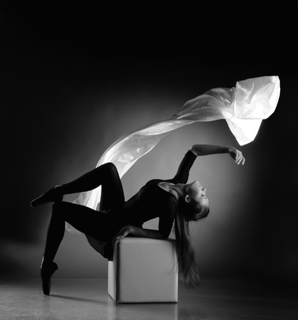 Ballerina , flying a cloth with  tissue, pointe, dance poses Фото со стока