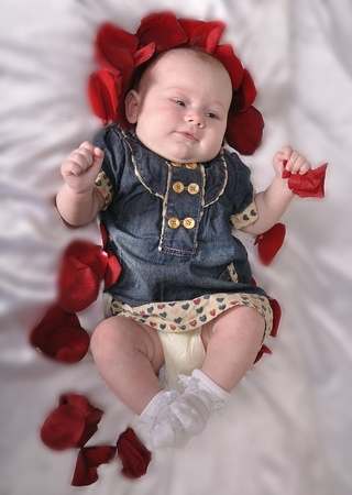welldressed: A well-dressed baby with an entourage of red petals