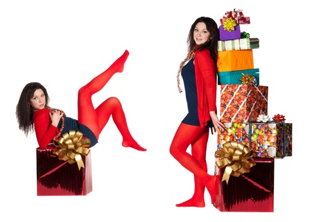 two girls in red tights and many box with a gift