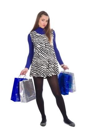 beautiful pregnant young woman wearing dress with zebra pattern  photo