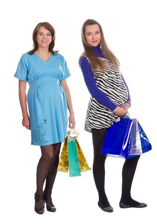 beautiful pregnant womens  in shopping photo