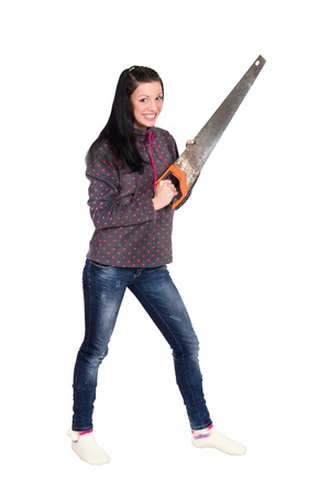 girl holding a chainsaw, isolated on white background Фото со стока