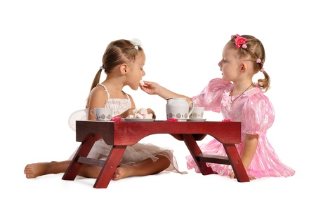 two pretty twins sisters in beautiful dresses having tea wtih zephyr sitting at coffee table  isolated on white background photo