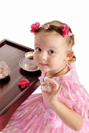hazel eyes: nice little princess with hazel eyes in beautiful pink dress having tea with zephyr  isolated on white background