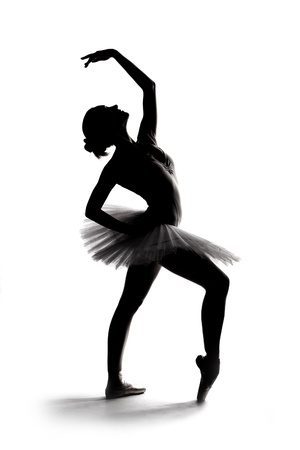 ballet shoes: beautiful shadow silhouette of graceful  ballerina dancing