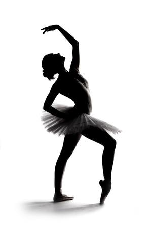 beautiful shadow silhouette of graceful ballerina dancing