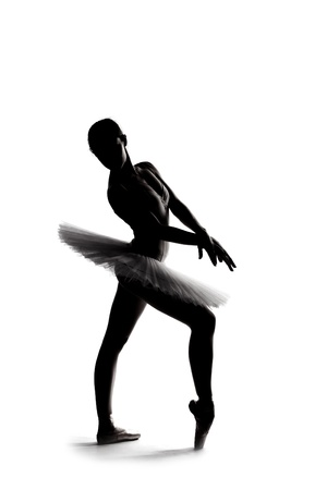 beautiful shadow silhouette of graceful  ballerina dancing