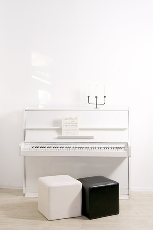 The interior rooms with a white piano