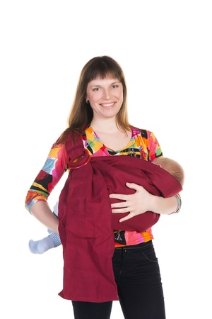 young mother with baby in sling on white background