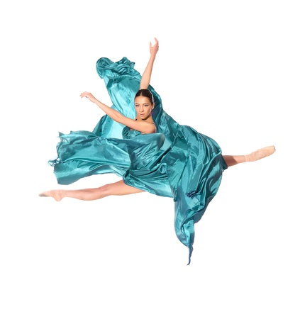 ballet dancer in the flying jump into the tissues isolated on white background Stock Photo - 13156444