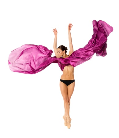 ballet dancer in the flying jump into the tissues isolated on white background Stock Photo - 13156453