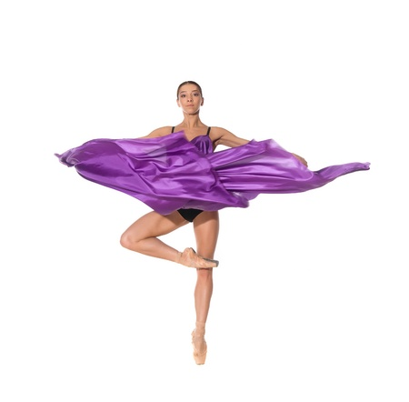 ballet dancer in the flying jump into the tissues isolated on white background Stock Photo - 13325340