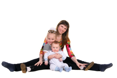 family, mother and children, isolated on white background photo