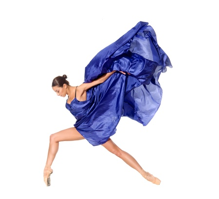 흰색 배경에 고립 된 조직으로 비행 점프 발레 댄서 스톡 콘텐츠