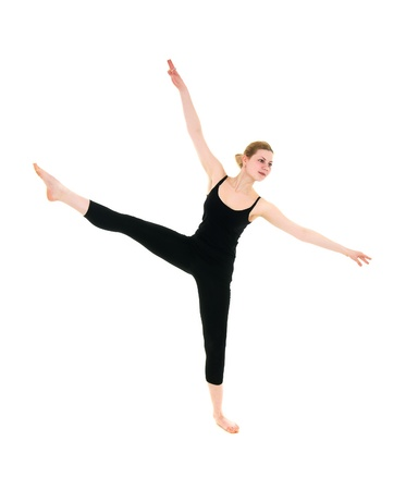 black tights girl engaged in fitness isolated on white background photo